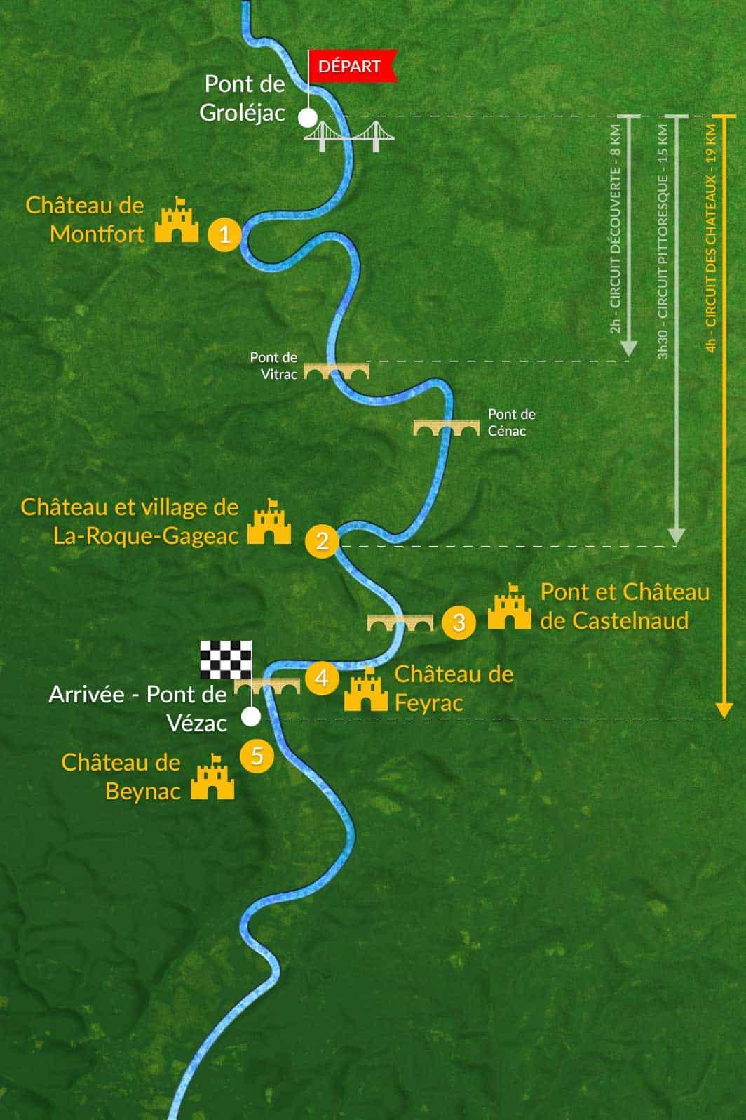 parcours et circuit canoe dordogne